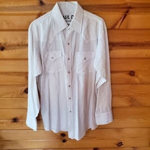 Ely Cattleman White w/Sparkly Gold & Silver Pinstr